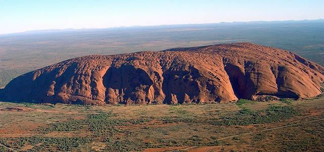 Ayers Rock, large sandstone rock formation in Australia
