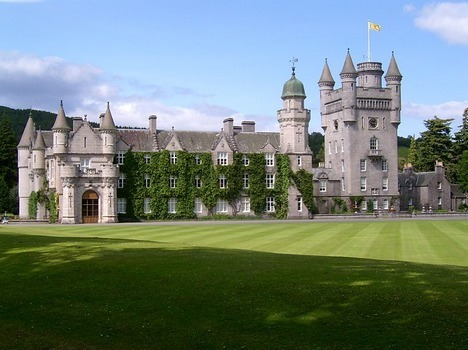 Balmoral Castle, a large estate house situated in the area of Aberdeenshire, Scotland