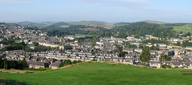 Hawick, in the valley of the River Teviot, largest town in the Scottish Borders