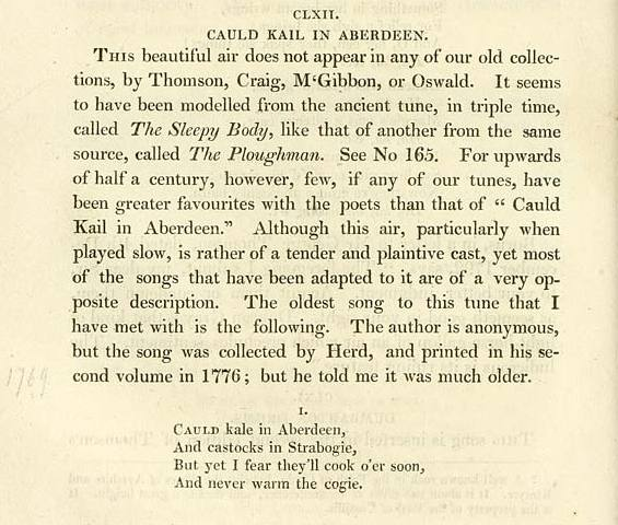 Cauld Kail In Aberdeen printed copy of the song