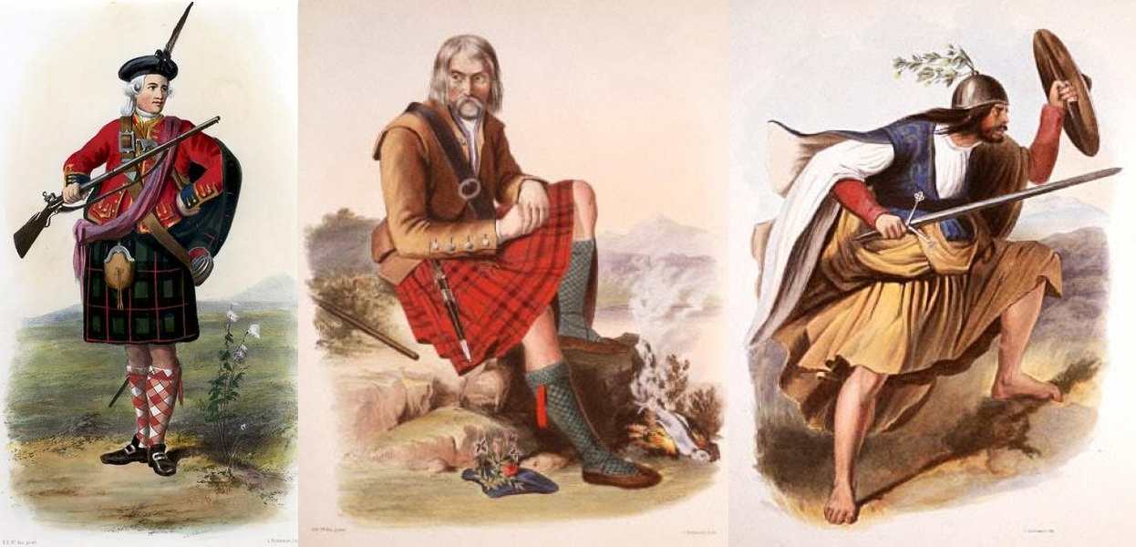 A romantic depiction of a clansman illustrated by R. R. McIan,