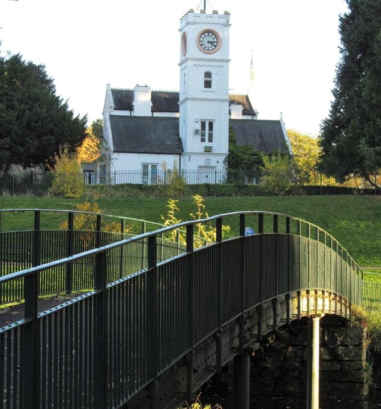 Darlington, South park scene with footbridge