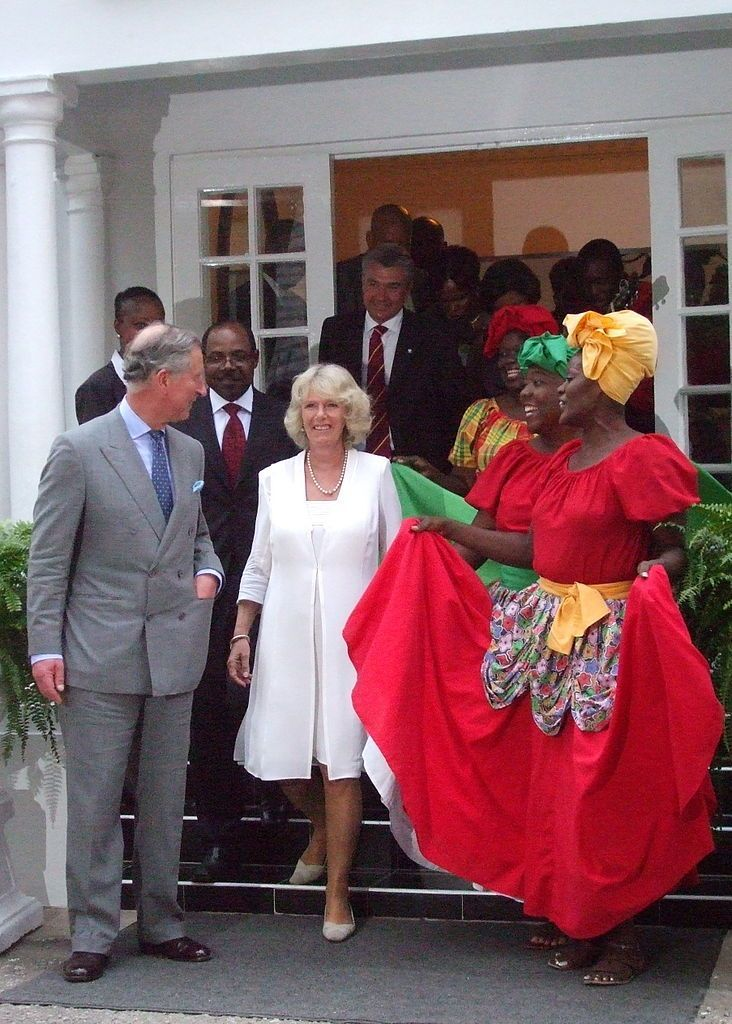 Prince Charles and Camilla Parker Bowles on an official visit to Jamaica at a reception at the Half Moon Hotel.