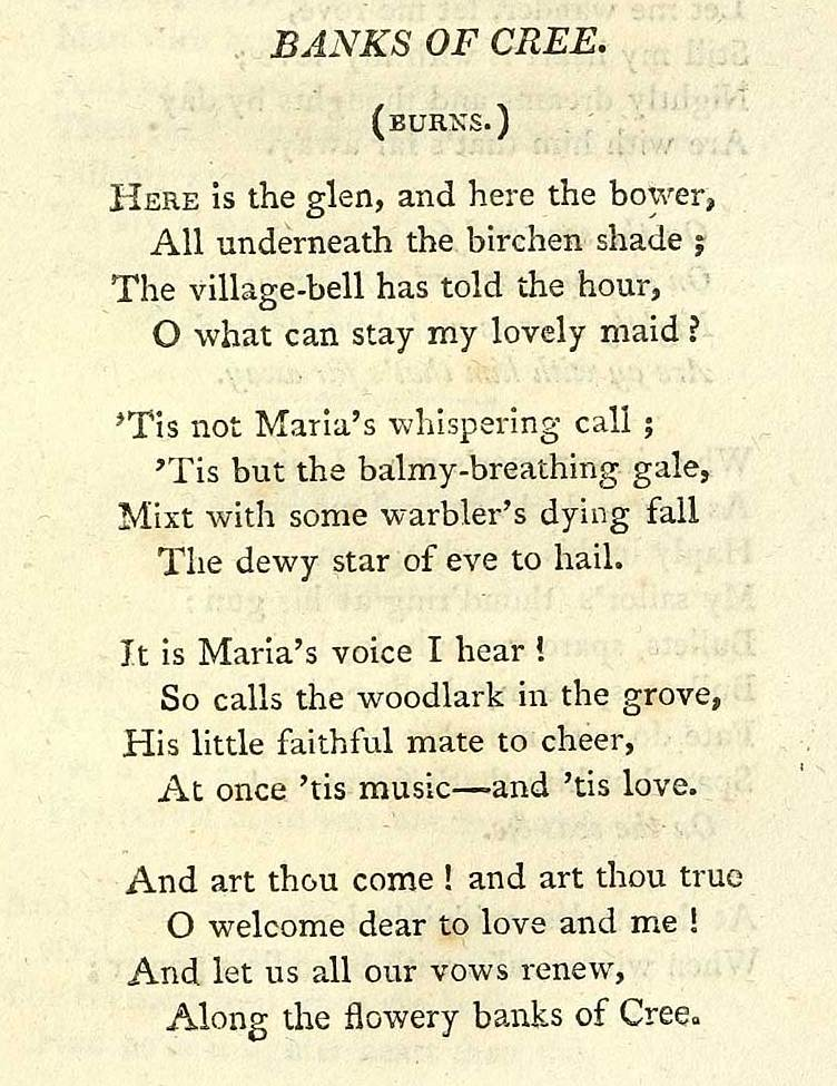 The Flowery Banks Of Cree printed copy of the song