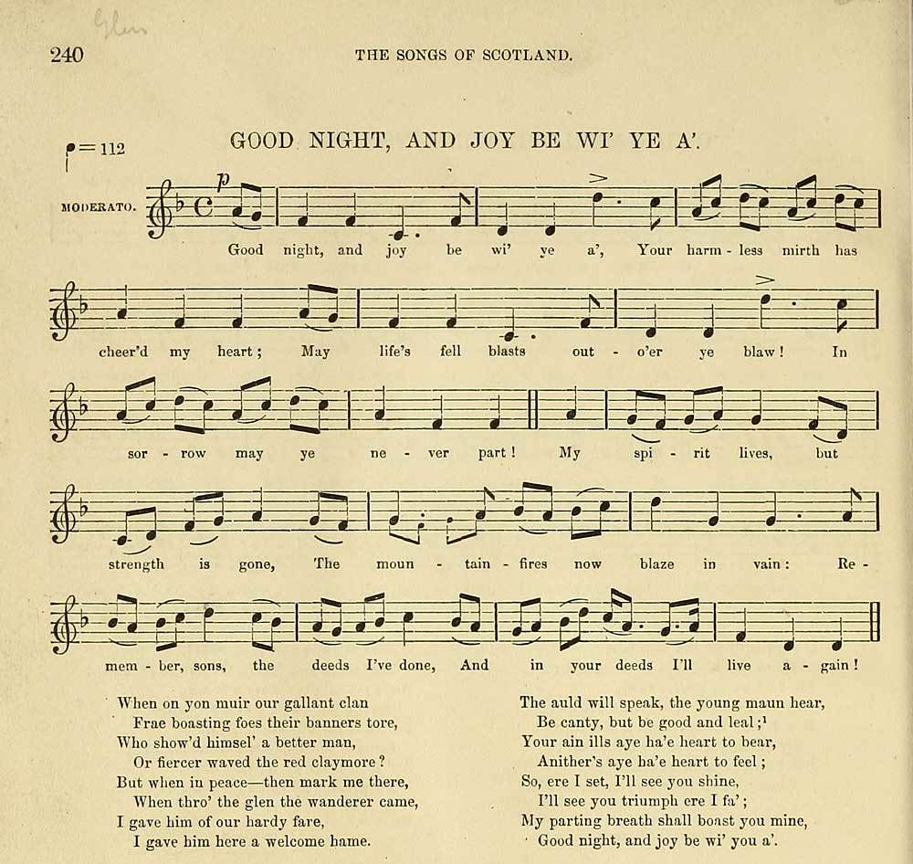 Good Night, And Joy Be Wi Ye A, by Sir Alex Boswell