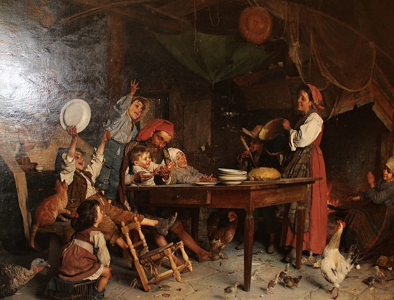Hasty Pudding (1883) oil on canvas by Gaetano Chierici from the Widener University Alfred O. Deshong Collection.