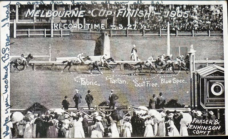 Melbourne Cup horse race, finishing line 1905
