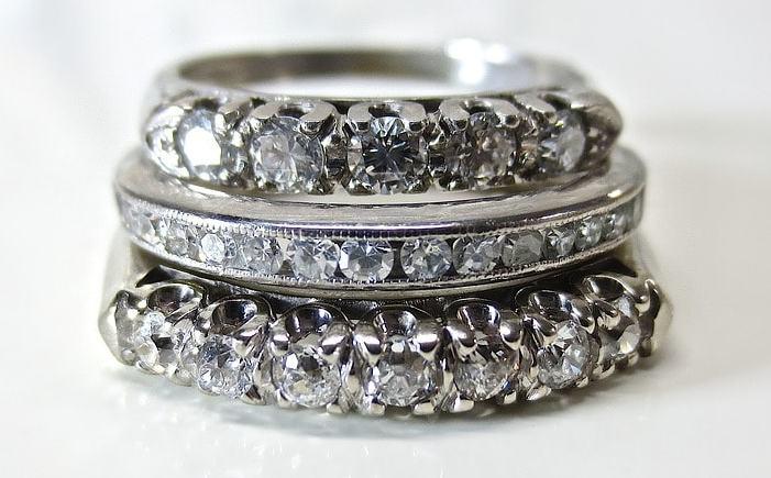 Platinum Pair Platinum And Diamond Ring Image
