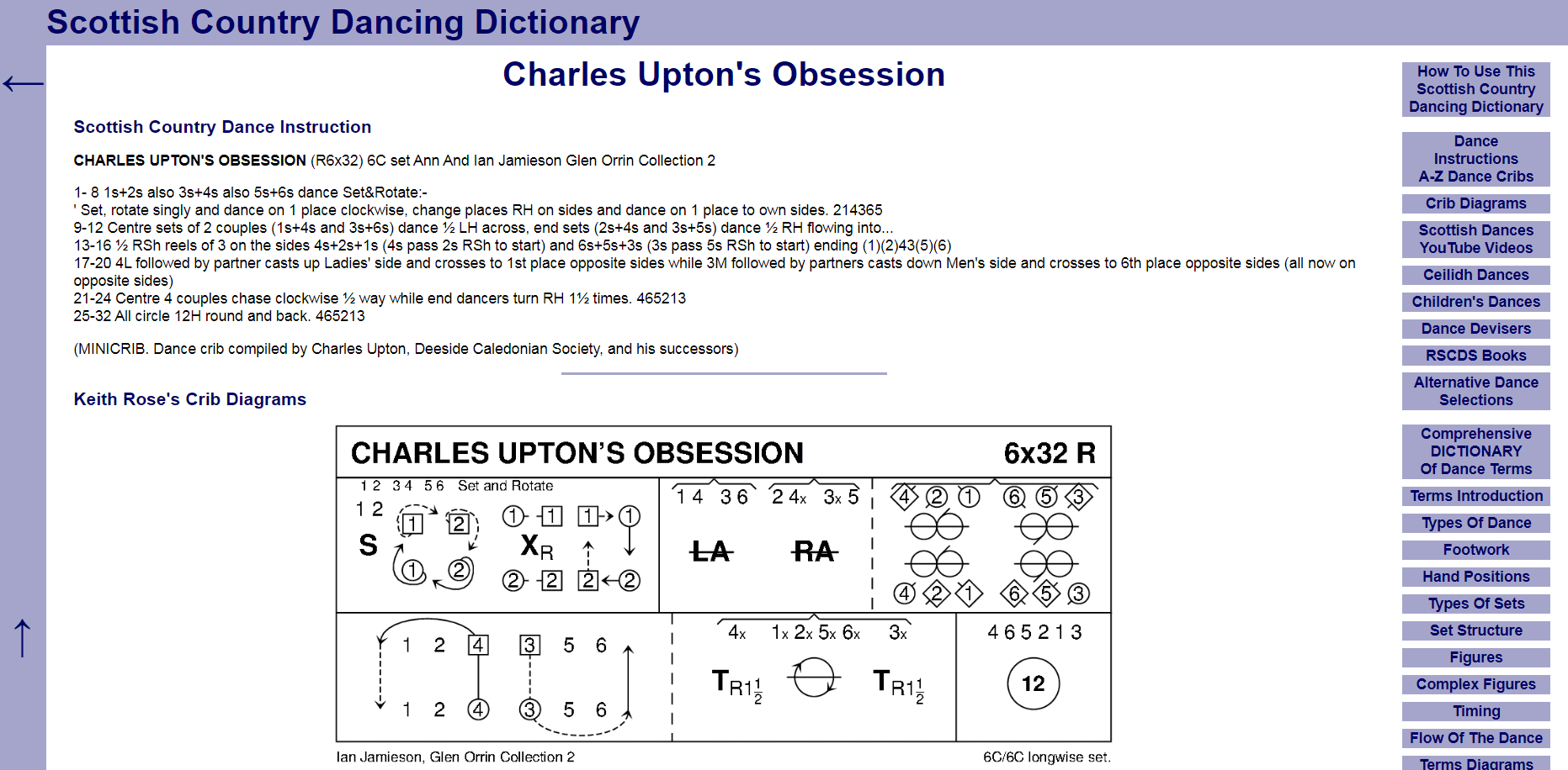 Screenshot of Scottish Country Dancing Dictionary Charles Uptons Obsession page.